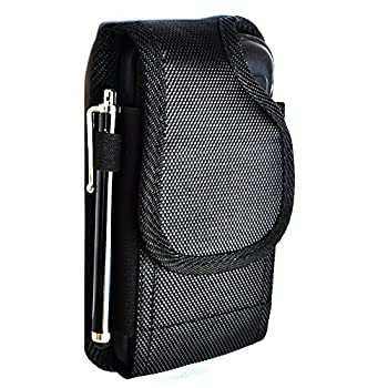 KUTECK BLACK HEAVY DUTY RUGGED NYLON CANVAS POUCH FITS FOR SAMSUNG GALAXY S10/S10E/S10 PLUS/S9/S9 PLUS/S8/S8 PLUS/S7 EDGE/S7  WITH OTTERBOX / LIFEPROOF / MOPHIE JUICE PACK AIR/PLUS CASE ON