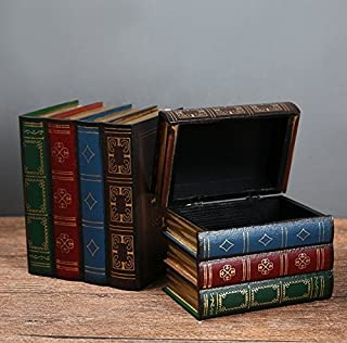 نهايات كتب خشبية عتيقة من كريس دبليو مع صندوق تخزين مخفي نهايات كتاب ديكور كلاسيكي مجموعة من قطعتين