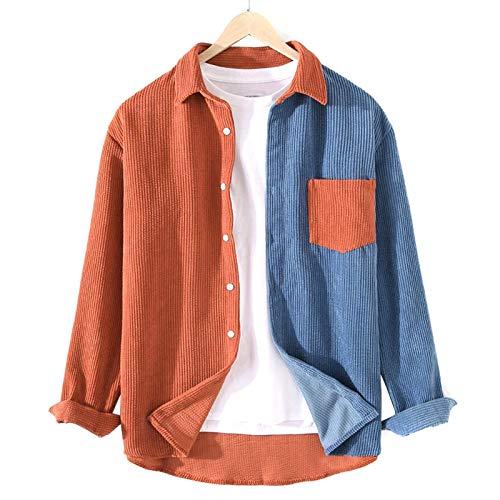 ERHETUS Herren-Sweatshirt, Patchwork-Kord-Hemd, Jacke, Revers, langärmelig, Pullover, Frühlingsmantel, Tops mit Tasche