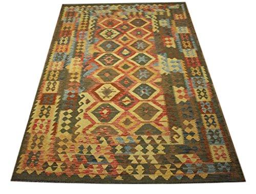 Kilim Chobi Afghan Kilim Old Style Tapis 100 % laine tissé à la main 190 x 297 cm