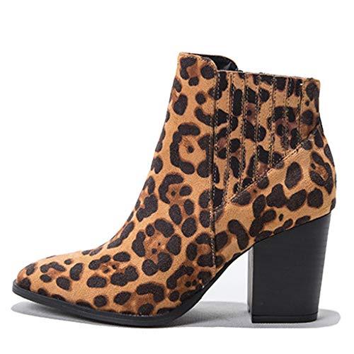 MaNMaNing-Shoes Damen Leopard Stiefeletten Rom-Stil Zipper Wildleder Große Größe Retro Freizeit Schuhe (Braun, 37 EU)