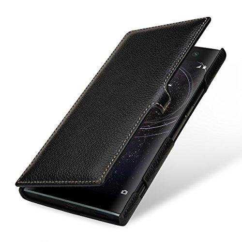 StilGut Book Type, Leder-Hülle kompatibel mit Sony Xperia XA2 Ultra, Schwarz mit Clip