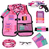 Girls Pink Tactical Vest Set with Gun for Nerf Rebelle and N-Strike Elite Series with 30 Refill Darts, Quick Reload Clip, Wrist Ammo Holder, Safety Glasses, and Tube Mask