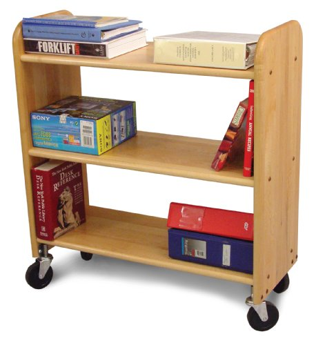 Catskill Craftsmen Library Book Truck with Flat Shelves, Natural Birch