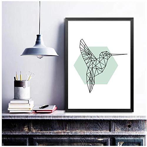 DLFALG Arte nórdico geometría pájaro carpintero lienzo póster minimalismo pintura abstracta imagen de pared impresión moderna decoración de la habitación del hogar-40x50cm sin marco