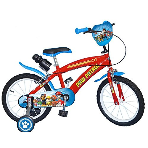 GUIZMAX Vélo Enfant 16 Pouces la Pat Patrouille Bleu Licence Officielle Disney