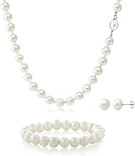 Gem Stone King White 3 Piece Cultured Freshwater Pearl Necklace, Elastic Bracelet and Earrings Set