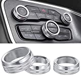 Air Conditioner Switch CD Button Knob Cover Auto Interior Accessories Aluminum Alloy Decal Trim Rings for 2015-2020 Dodge Challenger Charger Chrysler 300 300s (Silver)