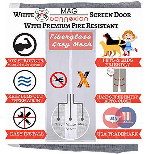 Mag-Connexion Fiberglass Screen Door | Bug & Mosquito, Fire and Rip Proof, Kids & Pets Friendly (32