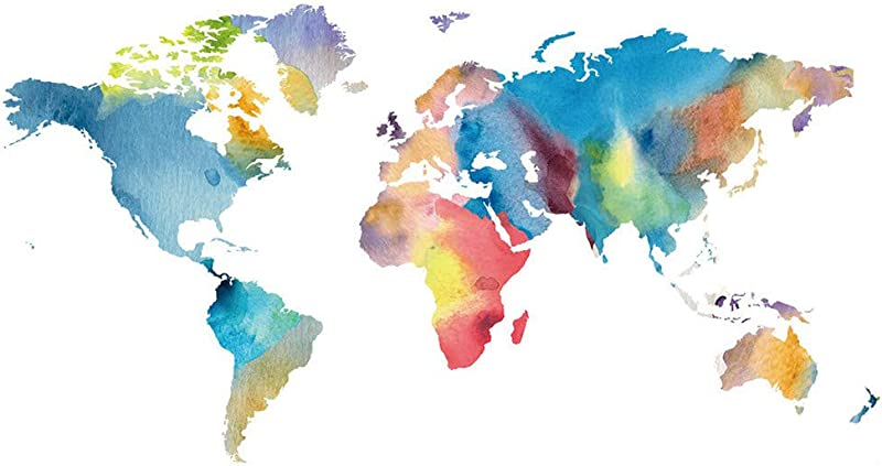 MIkilon Modern Colorful Painting World Map Kids Wall Stickers Wall Decals Peel And Stick Removable Wall Stickers For Kids Nursery Bedroom Living Room Colorful