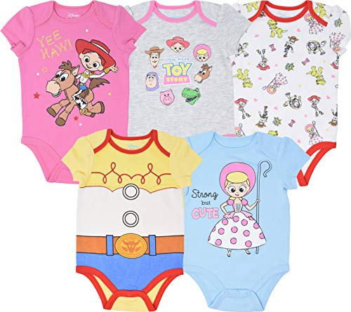 Disney Toy Story Baby Girls 5 Pack Bodysuits Jessie Bo Peep Buzz Woody 18 Months
