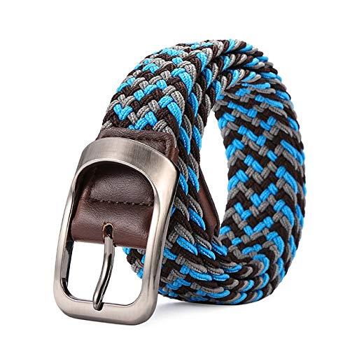 Cinturón de tela elástica para hombre y mujer, con hebilla expandible, trenzada, de lona salvaje, simple y elegante (longitud del cinturón: 105 cm, color: 8)
