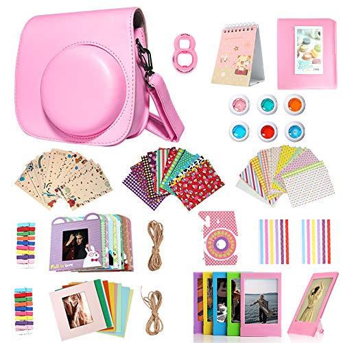 Homesuit 14-in-1-Zubehörset für Fujifilm Instax Mini 9/8/8 + Gehäuse/Album/Selfie-Objektiv/Filter/Filmrahmen/Wandbehangrahmen/Randaufkleber/Eckaufkleber/Filmkalender (Flamingo Pink)