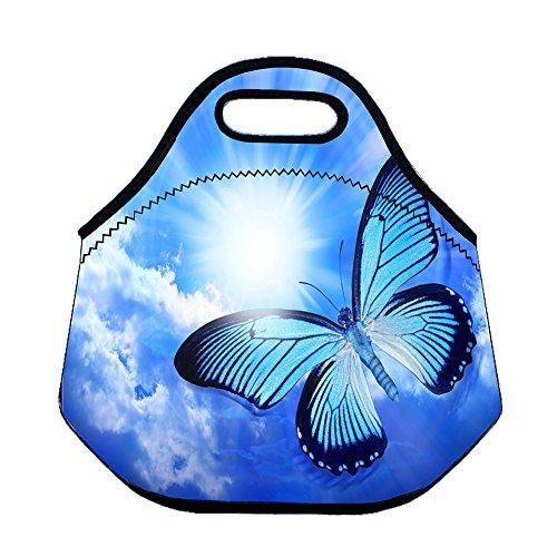 réutilisable Sac à déjeuner isotherme Boîtes repas recyclé Isolation thermique Cooler récipient de stockage pique-nique Sac pour l'école bureau Camping Voyage en néoprène Sac repas Butterfly 2