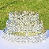 H&D 3 Silbrig Farben Rund Tortenständer Hochzeit Geburtstag Dekoration mit klar funkelt kristall Korn 8,10,12Inch Größe - 4