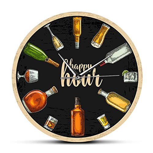JJYM wandklok Happy Hour wijntijd wijnklok jenever wandklok man cave Pub bar wanddecoratie restaurant wijndrinker alcohol geschenken wijngoed kunst