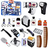 JOYIN 23 Pcs Pretend Play Shaving and Grooming Kit for Kids, Shaving Cutting Kit Hairdresser Toys Educational Play Toys with Shaver, Scissors, Hair Dryer, Styling Accessories