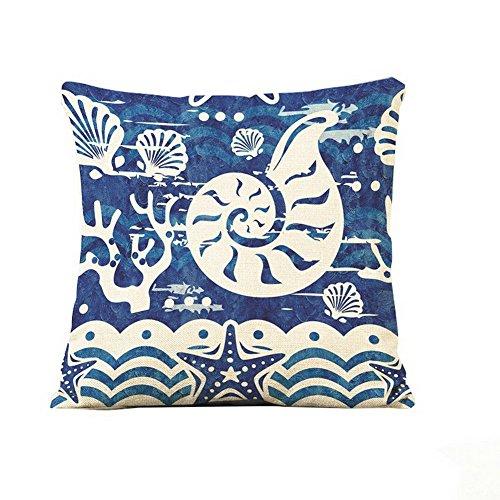 Crazy Cart Throw Pillows Marine Life Conch Cotton Linen Throw Pillow Cover (1818 Inch)