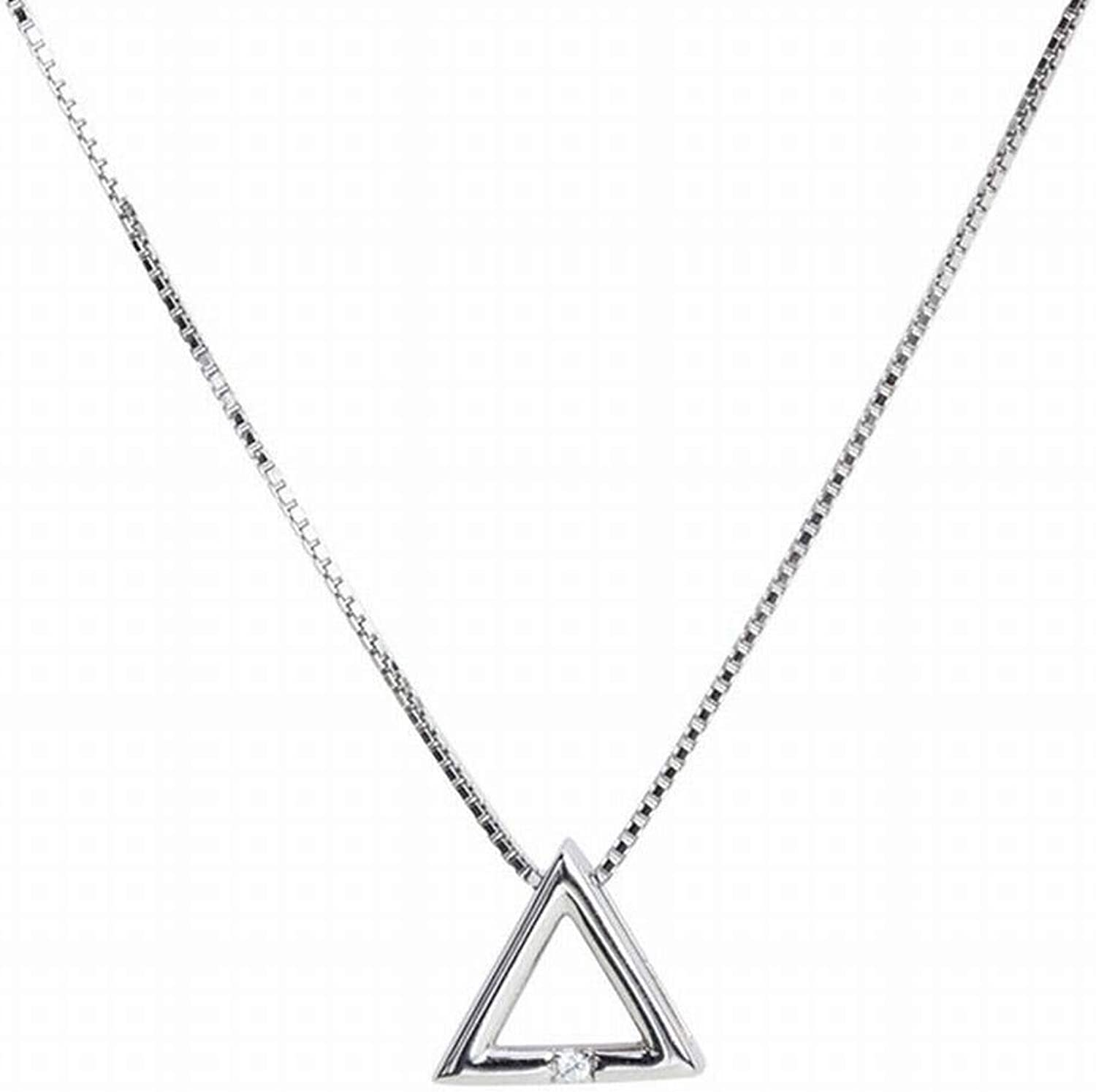 SHOUSHI Women's Simple 925 Silver Geometric Plating Pendant, Pendant S925 Sterling Silver Hollow Triangle Pendant Necklace Clavicle Chain Personality Natural Fashion Wild Student Female