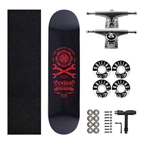 kyman Skateboards 7 Layer Decks, komplettes Skateboard for Pro Anfänger Erwachsene Kinder Jungen Mädchen bunt mit Ahorndeck