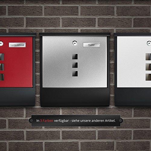 TÄGA 2217 Design Briefkasten anthrazit mit Zeitungsfach, Namensschild, Sichtfenster, Edelstahl pulverbeschichtet, abschließbar, 2 Schlüssel, Farbe: matt, anthrazit, grau - 8
