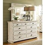 Progressive Furniture Willow Dresser with Mirror, Distressed White