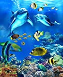 Adult Digital Painting Marine Life DIY Paint by Numbers for Adults and Kids Acrylic Painting Kit, 16 x 20 inch(Frameless)