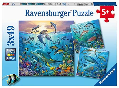 Ravensburger Kinderpuzzle - 05149 Tierwelt des Ozeans - Puzzle für Kinder ab 5 Jahren, mit 3x49 Teilen