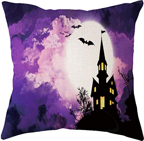 TGDY Holiday Halloween Kissenbezug, Spirit of Halloween Thriller Throw Kissenbezüge 100% Baumwolle Leinen Reißverschluss, Kissen Couch Kissenbezüge,D,X3