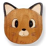 ART-CRAFT KH015 Kinderhocker Holz Schemel mit Tiermotiv Katze bemalt und beschnitzt Höhe 27 cm