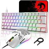 メカニカル、UK配列、61キーキーボード、有線、LEDバックライト、バックライトカスタマイズ可能、RGB、USB接続、エルゴノミック、防水 、完全なアンチゴーストボタン、キーキャップ取り外し可能、ゲーマーやタイピストに最適、Type-c 6400DPIゲーミングマウス マウスパット付き PC PS4 スイッチ対応 (ホワイト)