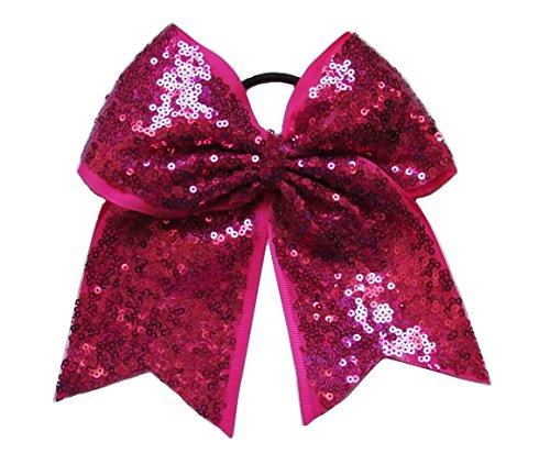 "New ""FANCY SEQUIN Magenta"" Cheer Bow Pony Tail 3"" Ribbon Girls Hair Bows Cheerleading Dance Practice Football Games Competition Birthday"