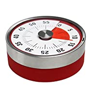 Kirot Round Magnet Mechanical Rotate Countdown Clock Timer,With 60 Minutes Record Capacity Counter Alarm Sound Ring When Time Reached,For Kitchen Cooking Housework Sports Office Timekeeper