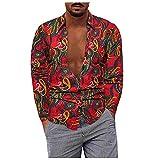 D-Rings Camisa para hombre, moda casual, tallas grandes, algodón y lino, camisa con solapa de manga larga, rojo, XL