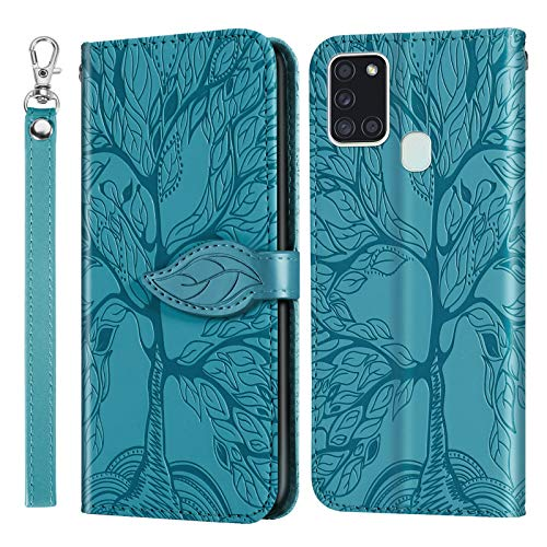 Leather Wallet Case for Galaxy A21S PU Leather Magnetic Flip Cover with Card Slots Holders Bookstyle Wallet Case for Samsung Galaxy A21S - JERX010111 Blue