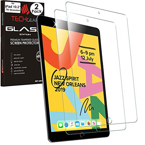 TECHGEAR 2 Pack of iPad 10.2' 2019 GLASS Edition Screen Protectors, Tempered Glass Screen Protectors [2.5D Edge] [9H Hardness] [Crystal Clarity] [Scratch-Resistant] [No-Bubble] for iPad 7th Generation