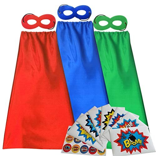 ADJOY Red Blue Green Superhero Capes and Masks with Large Superhero Stickers for Kids - 3 Sets Super Hero Costume for Parties
