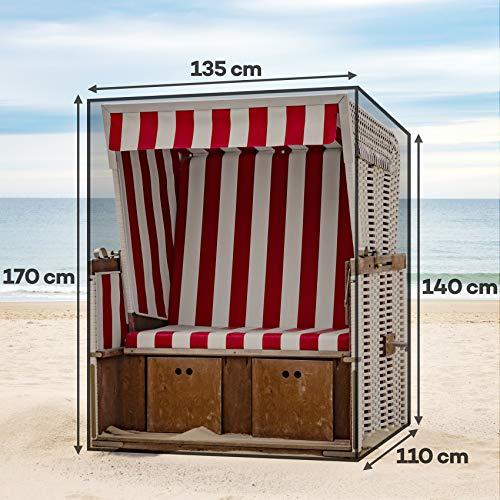 Fast Mile Winterfeste Strandkorb Schutzhülle aus Premium 600D Oxford Gewebe – Atmungsaktiv, UV Beständig Strandkorbhülle – Breite max. 135 cm - 2