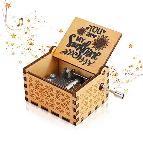 """Achort Musikbox """"You are My Sunshine"""", Vintage-Stil, Handkurbel, Spieluhr, Geschenke für Geburtstag/Weihnachten/Valentinstag, Heimdekoration, Basteln"""