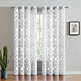 FMFUNCTEX White Grey Damask Print Curtains for Bedroom 63 inch Total Privacy Vintage Flower Window Drapes Living Room Grommet Top 50' w x Set of 2