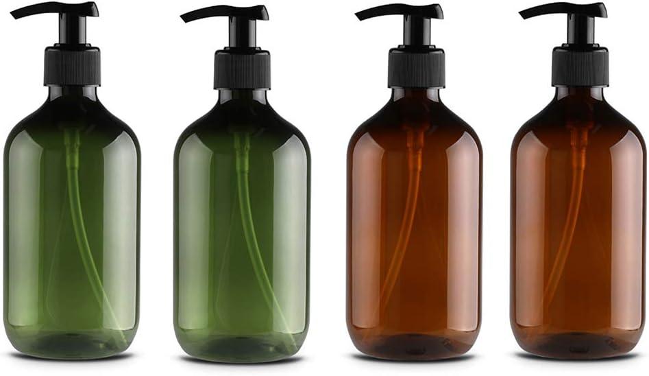 Liunian459 Conjunto de dispensadores de jabón vacío, Botellas de dispensador de jabón de 500 ml Pet Pet Pet Food Plassable Plástico Dispensador de loción para loción, Gel de Ducha, champús