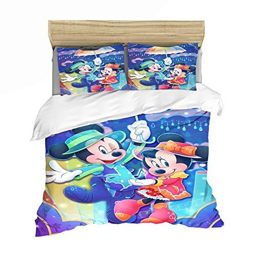 YZDM Disney Mickey & Minnie Mouse Love Bettwäsche, Kinder, Bettbezug mit 3D-Digitaldruck aus Mikrofaser, für Schlafzimmer (E,200 x 200)