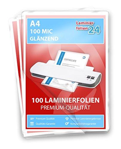 XLam Laminierfolien A4-2 x 100 Mic - glänzend - 100 Stück - PREMIUMQUALITÄT FÜR PERFEKTE LAMINIERERGEBNISSE