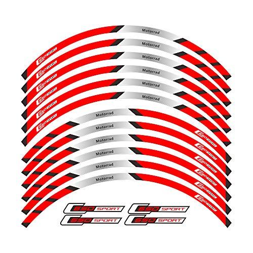 Pegatinas para llantas delanteras y traseras para motocicleta con borde exterior para decoración de etiquetas deportivas C650 (color 2)