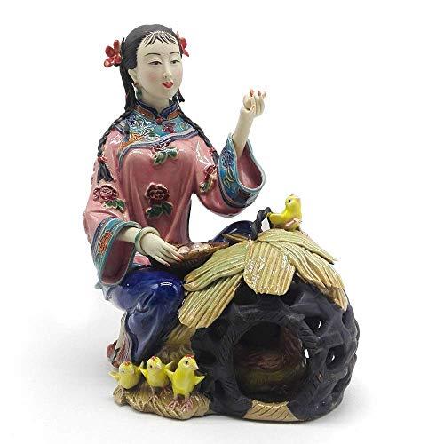 WEHOLY Estatua Escultura Decoración Escultura Muñecas de época Figura de Porcelana China Esculturas coleccionables Estatua Estatuilla Pintada Arte Cerámica Ángel Decoración para el hogar