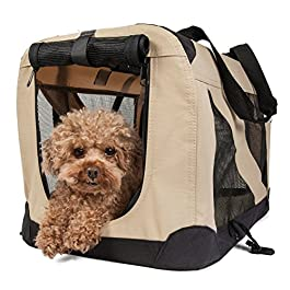 Folding Zippered 360° Vista View House Pet Dog Crate, X-Small, Khaki