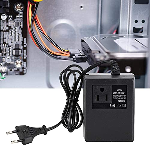 Convertidor de enchufe de la UE, adaptador de enchufe de viaje, convertidor de voltaje de transformador de potencia negro de 300 W AC 220 V a 110 V adaptador de enchufe de la UE(UE)