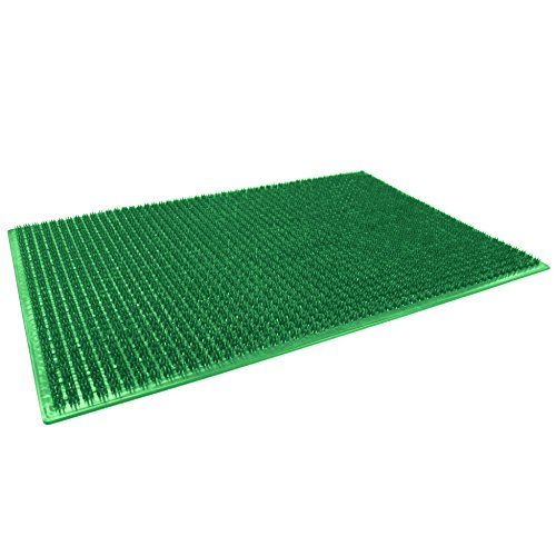 douceur d'intérieur tapis d'entree rectangle 58.5x38.5 cm polyethylene grattoir vert