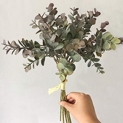 GANHUA 6-delig/bundel kunststof kunsteucalyptus voor Kerstmis bruiloftsdecoratie bloemensieraad faux lauw vervalste bladeren plant rood