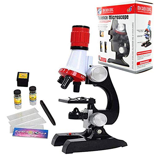 Extpro Microscope Kit Science Experiment Supplies LED 100x 400x and 1200x Magnification for Boys Girls Students